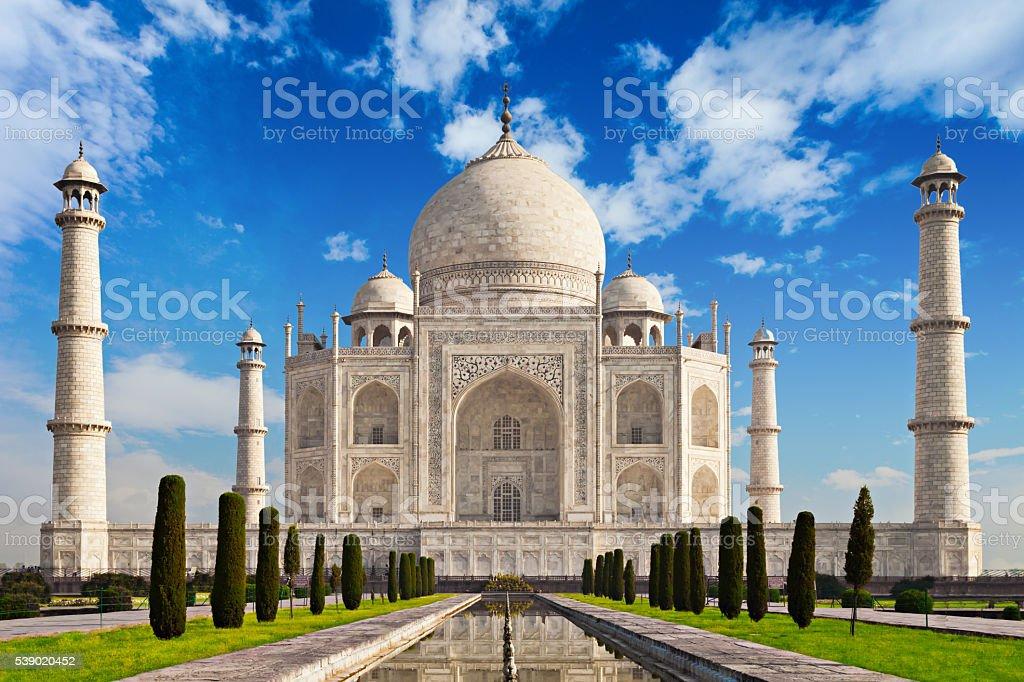 Taj Mahal in sunrise light stock photo