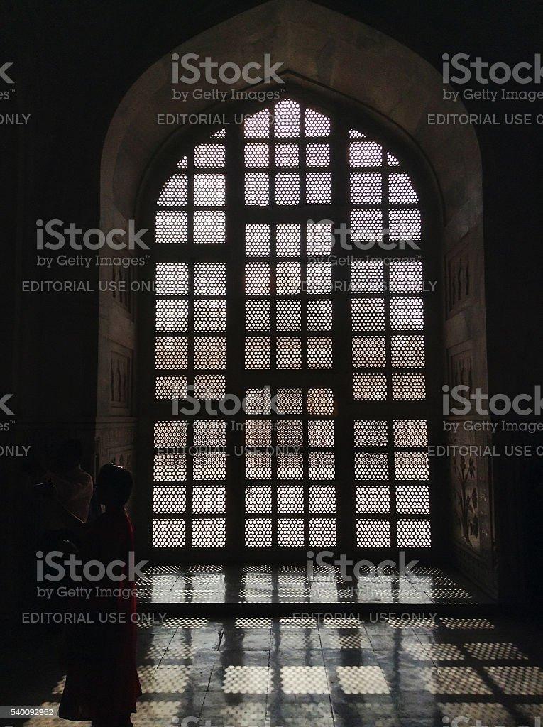 Taj Mahal interiour details stock photo