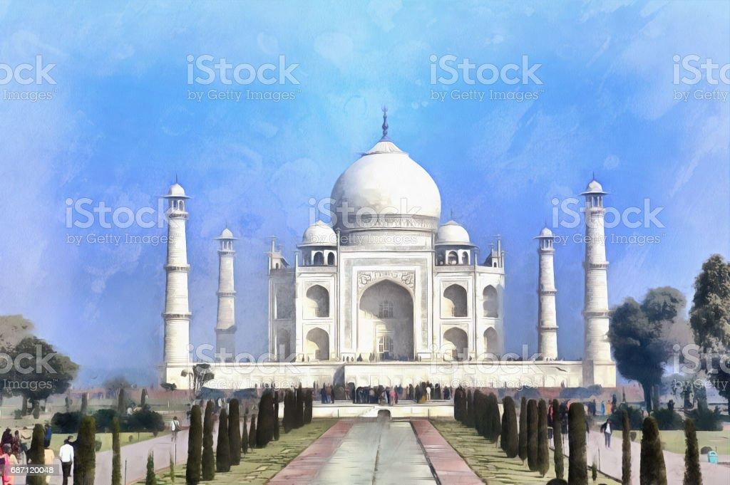 Taj Mahal mausoleum colorful painting stock photo