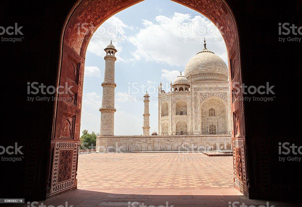 Taj Mahal on a bright day stock photo