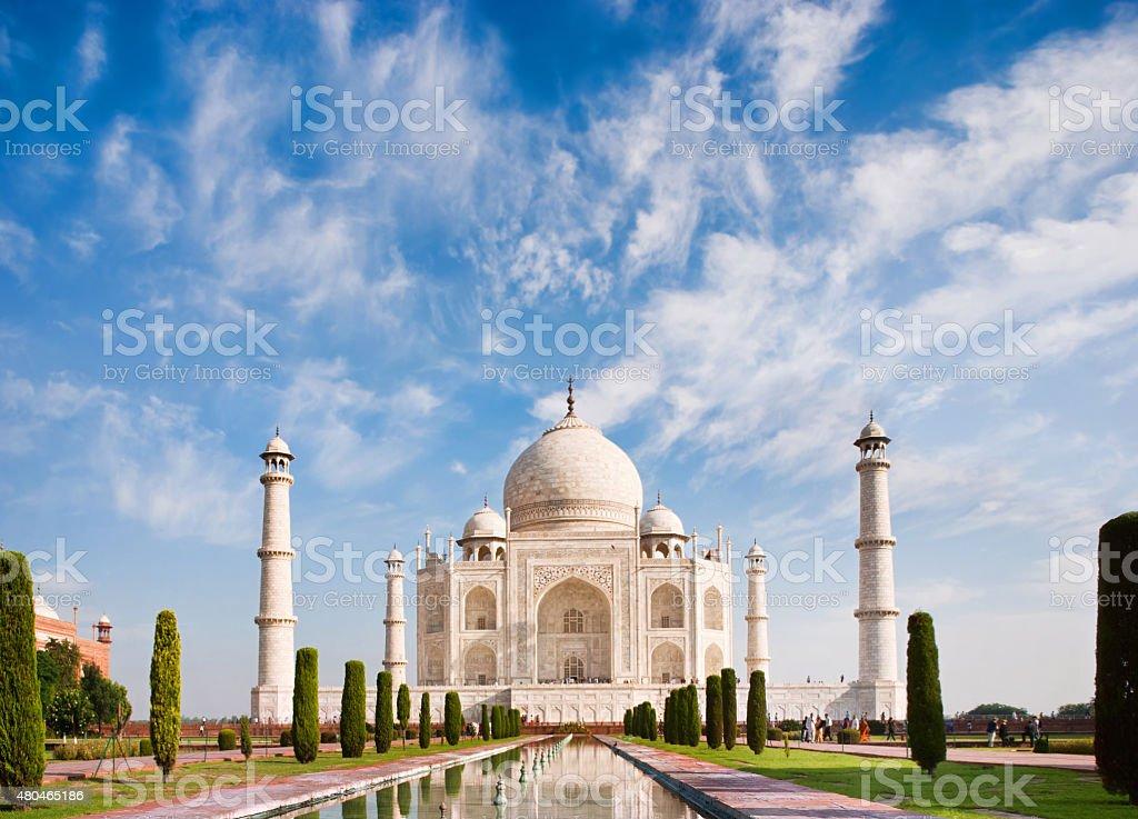 Taj Mahal on a sunny day with beautiful sky stock photo