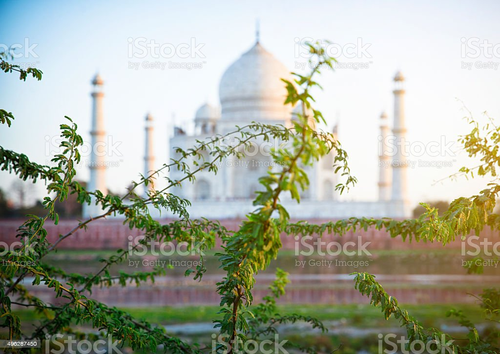 Taj Mahal, seen from the riverside. Agra. stock photo