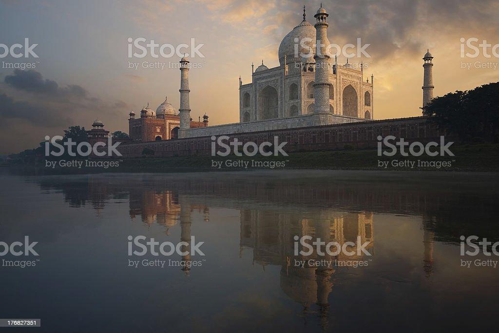 Taj Mahal Sunset from Jamuna River stock photo