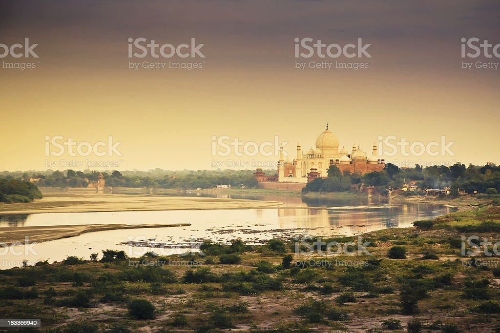 Taj Mahal Sunset Scene Yamuna River Agra India stock photo