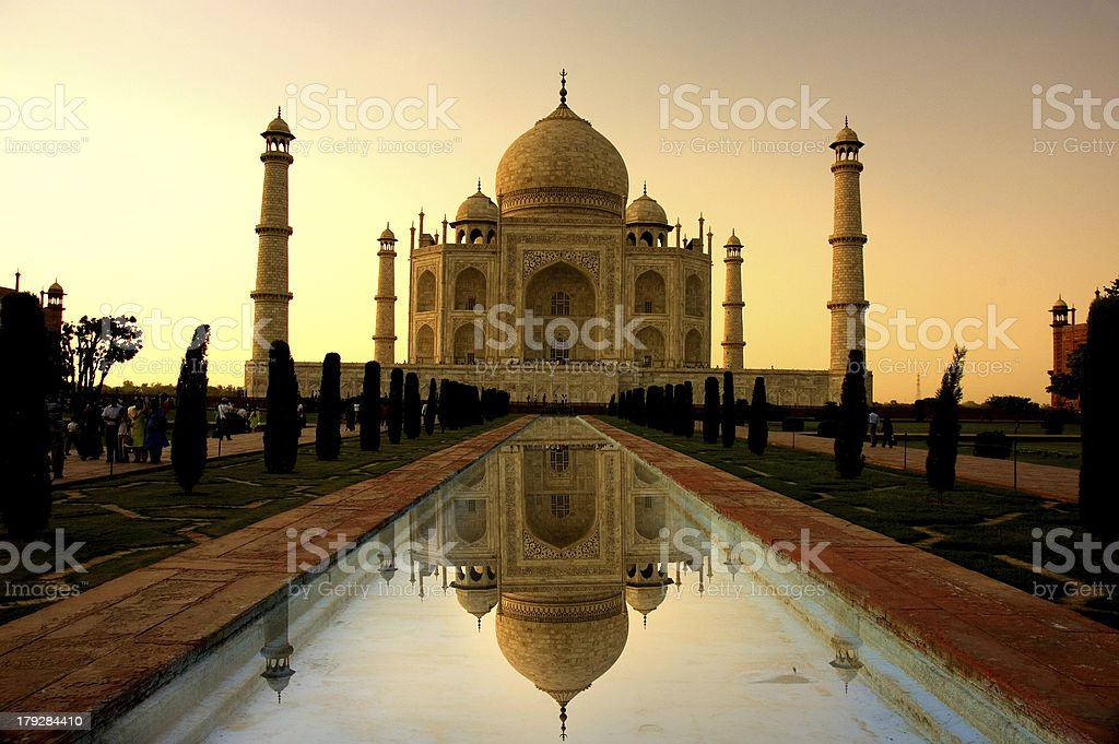 taj mahal sunset with reflection stock photo