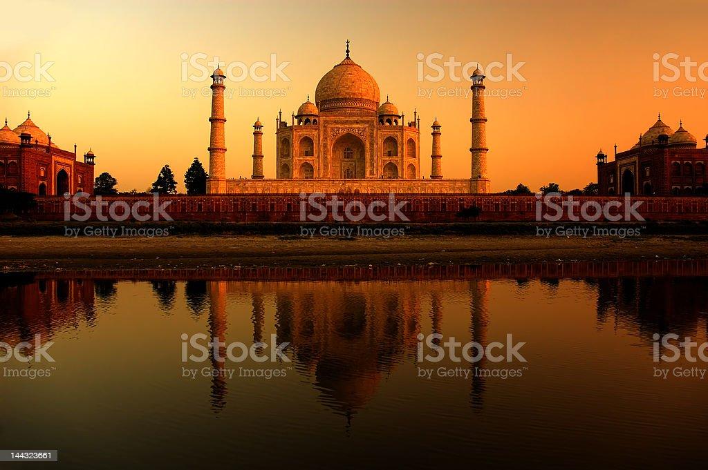 Taj Mahal sunset with reflections royalty-free stock photo