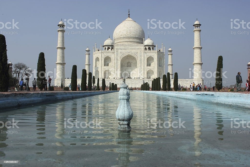 Taj Mahal with reflection in water stock photo
