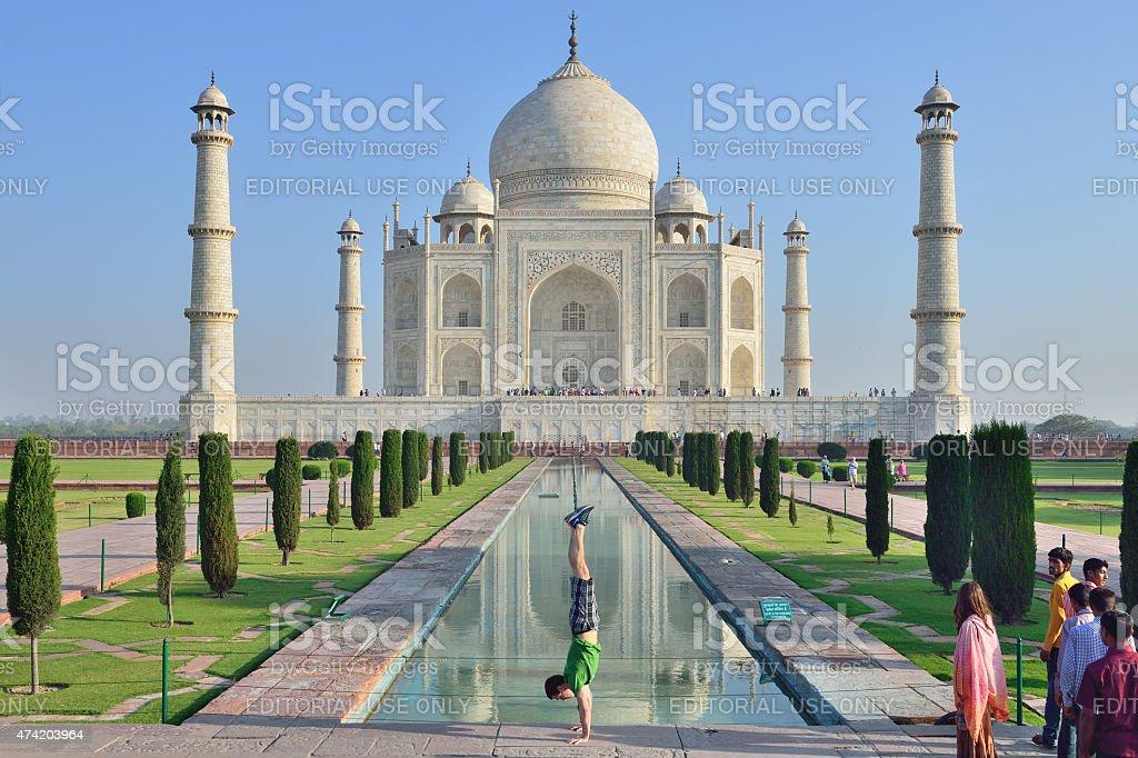 Taj Mahal with sportsman stock photo