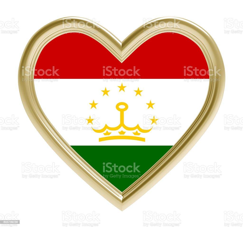 Tajikistan flag in golden heart isolated on white background. stock photo