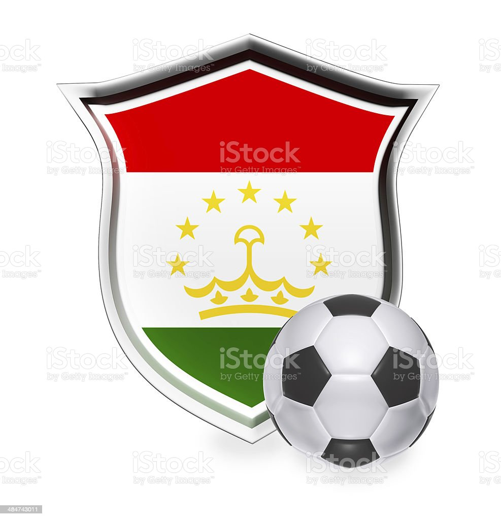 Tajikistan Flag with Soccer Ball stock photo