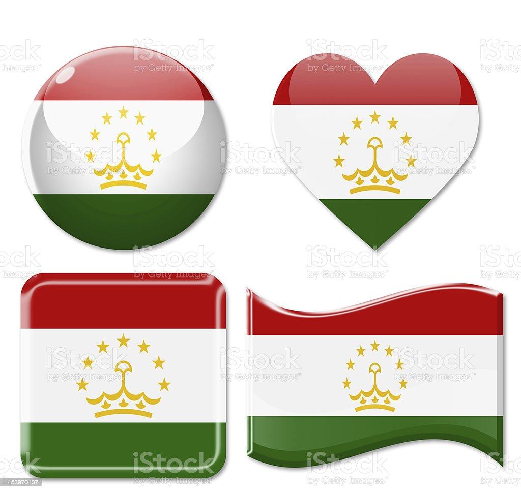 Tajikistan Flags & Icon Set stock photo