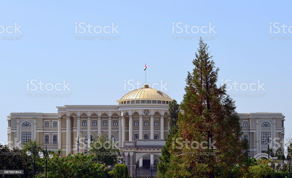 Tajikistan presidential palace façade - Dushanbe stock photo