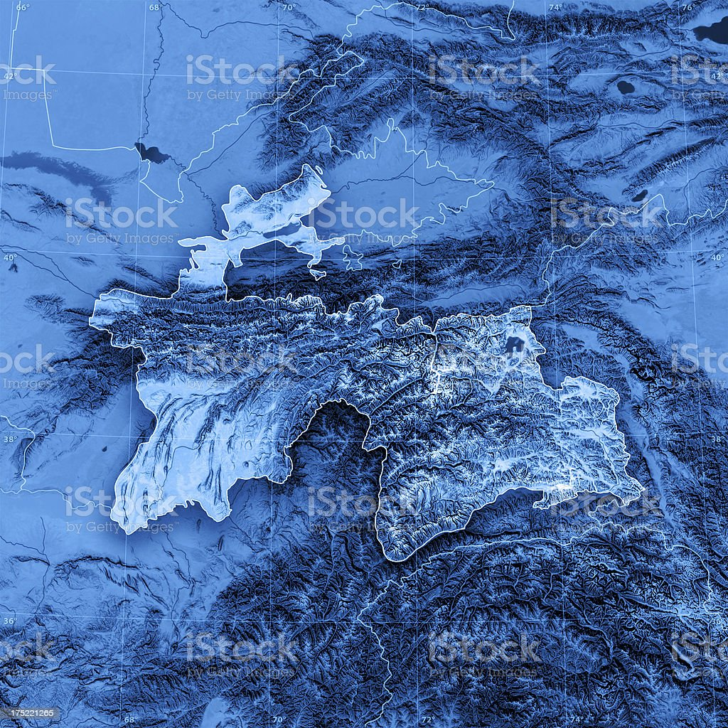 Tajikistan Topographic Map royalty-free stock photo