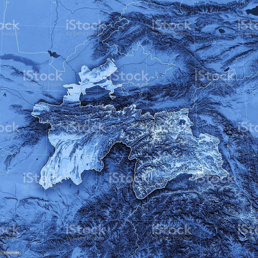 Tajikistan Topographic Map stock photo