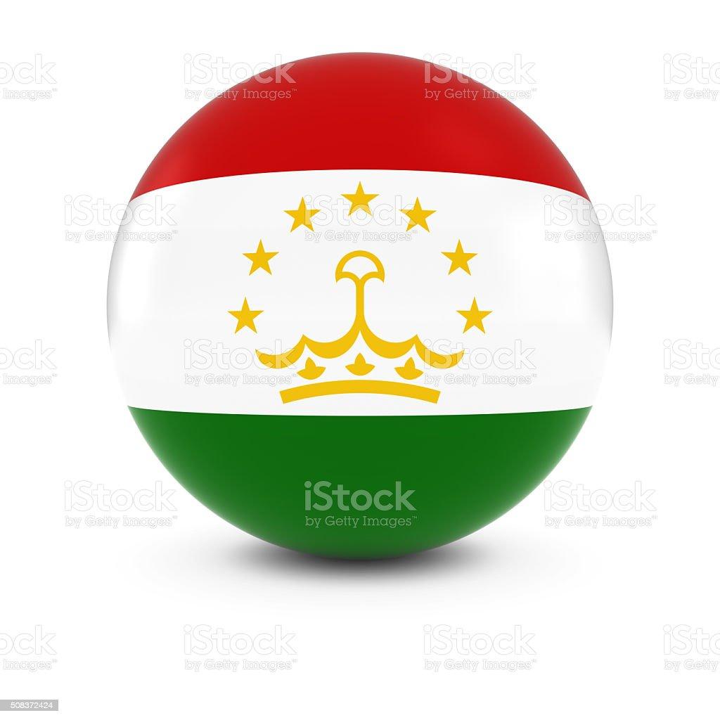 Tajikistani Flag Ball - Flag of Tajikistan on Isolated Sphere stock photo