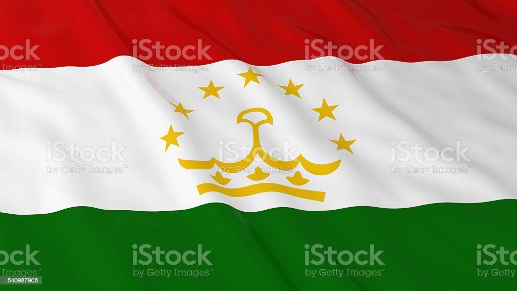 Tajikistani Flag HD Background - Flag of Tajikistan 3D Illustration stock photo