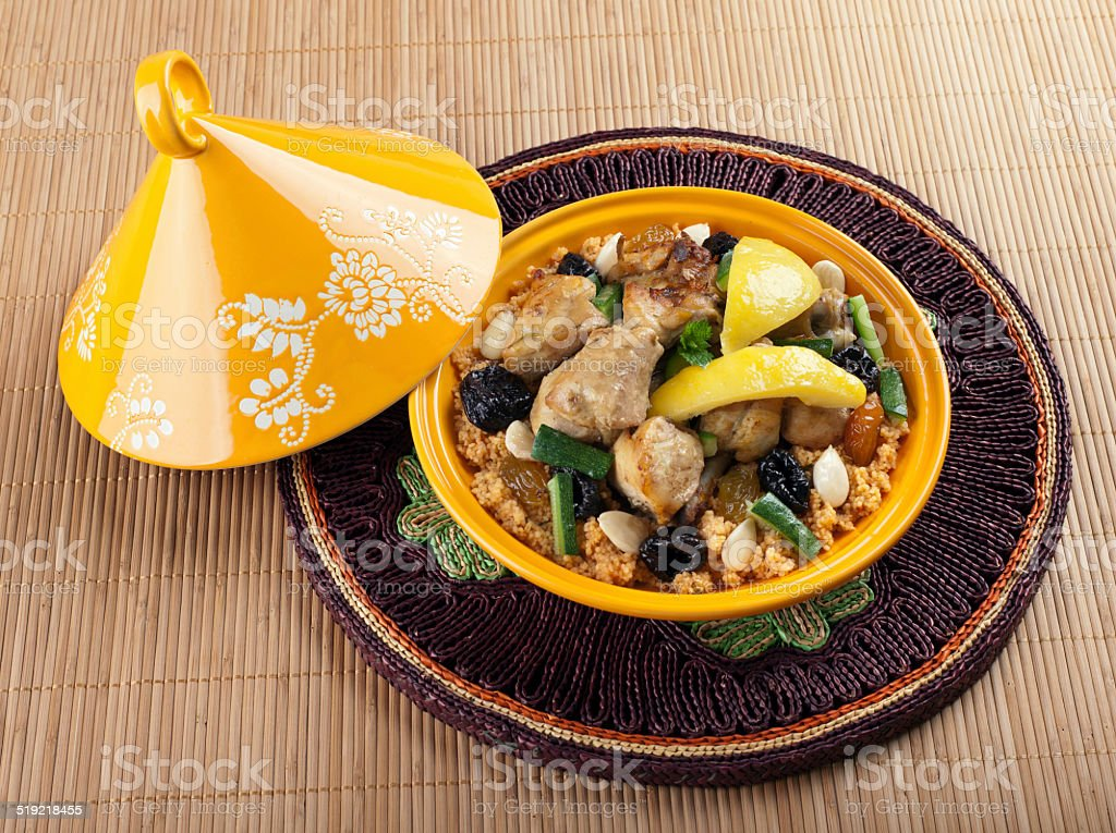 Tajine, moroccan chicken with lemon confit stock photo