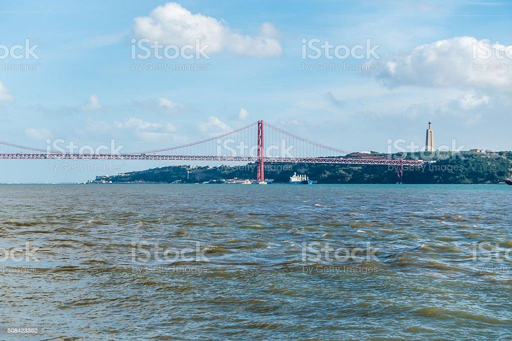 tajo almada cristo rei ponte 25 de abril rio lisboa stock photo