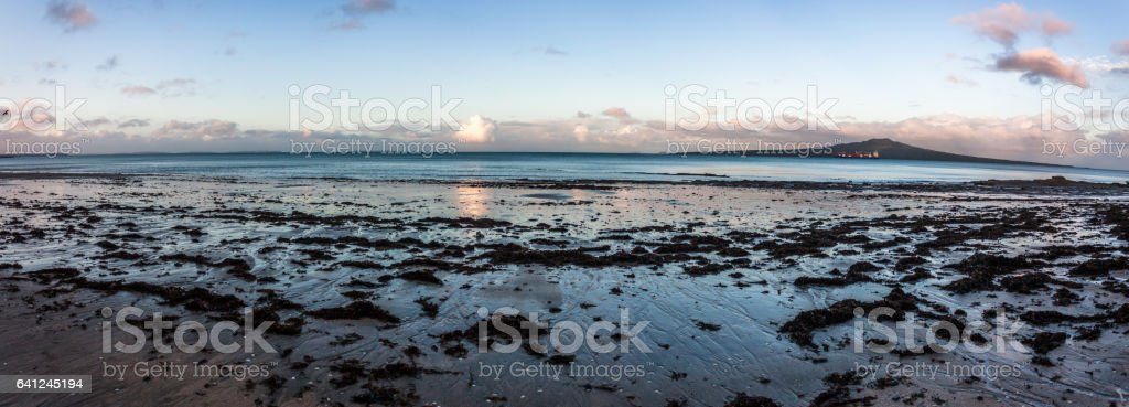 Takapuna Beach at Sunset, Auckland, New Zealand stock photo