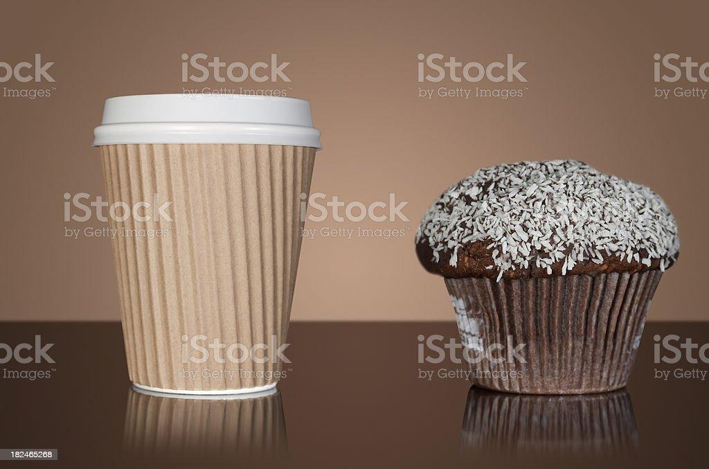 Takaway coffee and chocolate muffin royalty-free stock photo