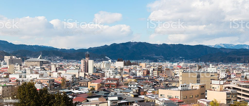 Takayama a small town in the valley stock photo