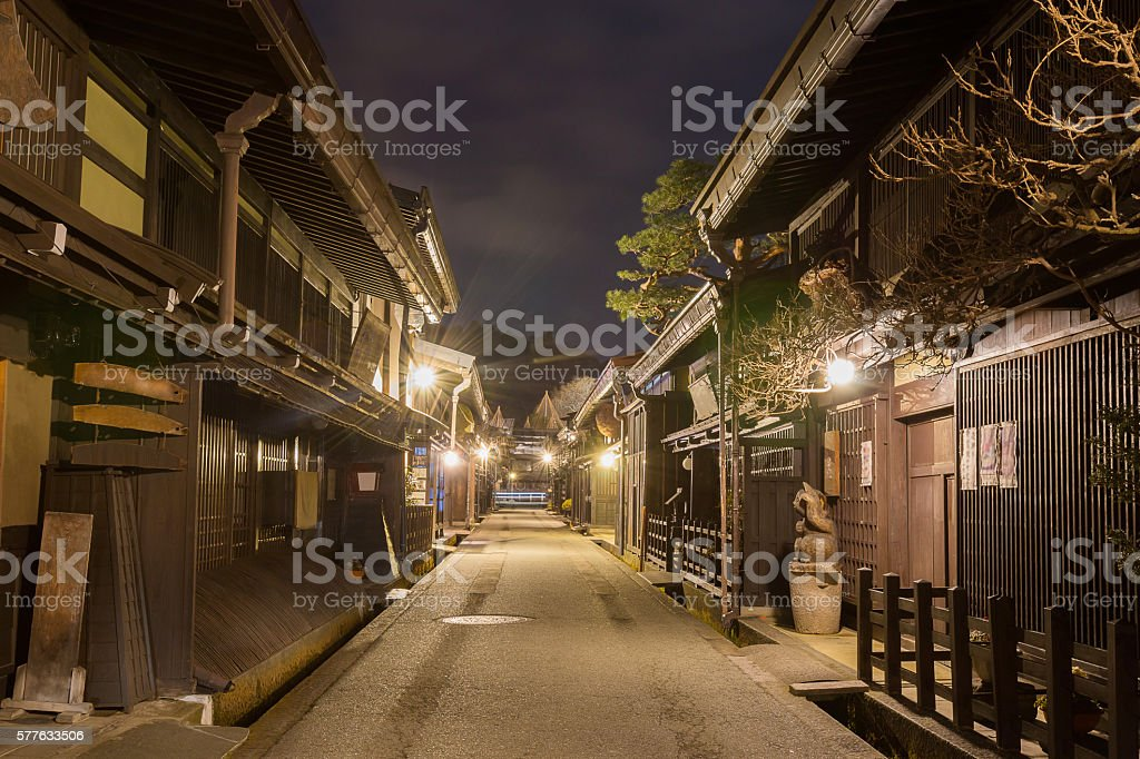 Takayama town in night at gifu japan. stock photo