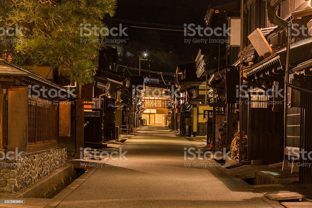 Takayama town in night. stock photo