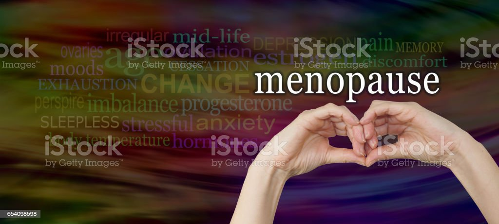 Take a look at the signs and symptoms of menopause stock photo