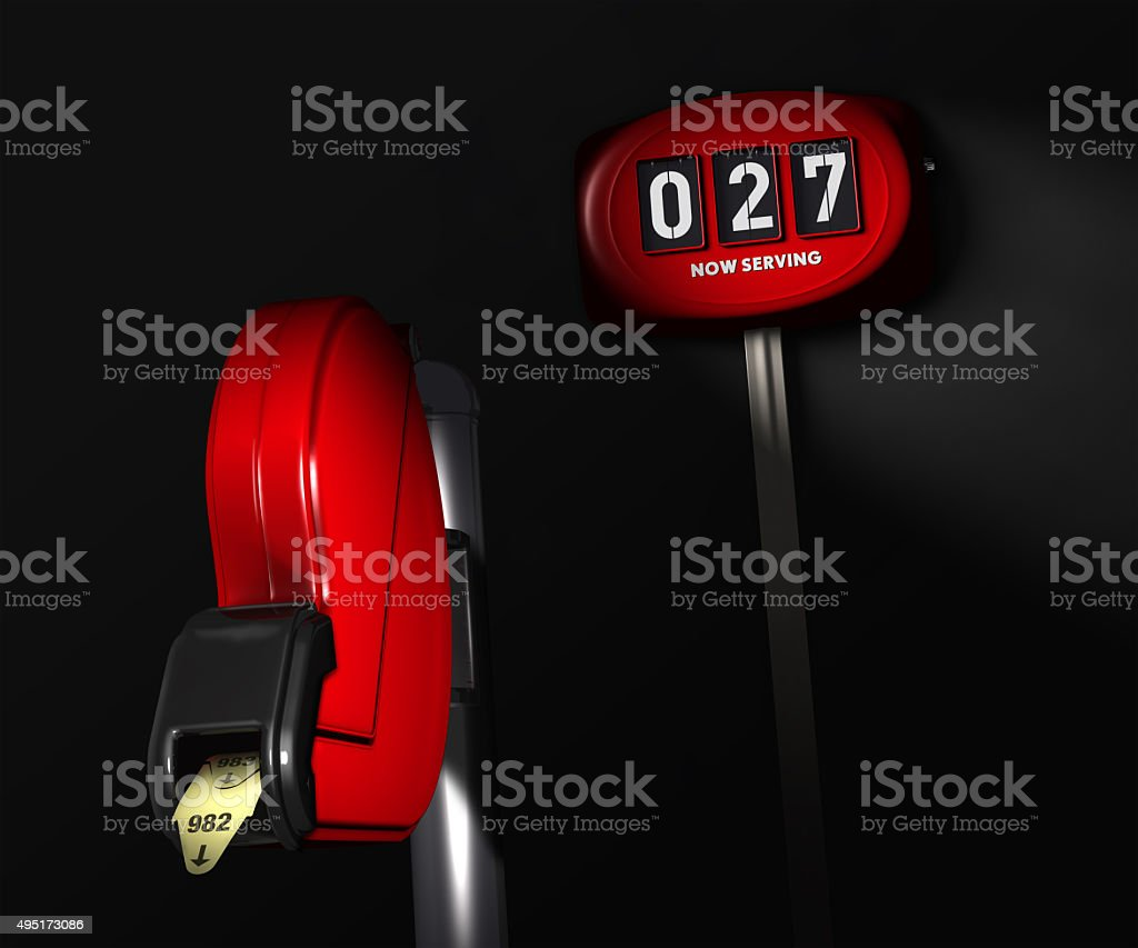 Take A Number Dispenser For A Long Wait stock photo