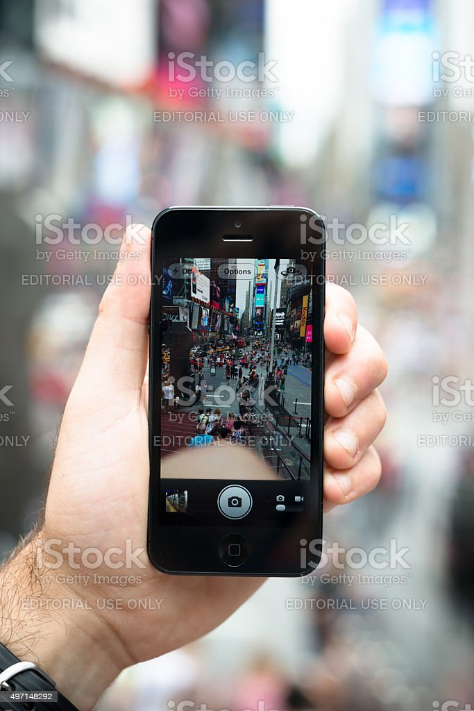 take a picture on times square stock photo