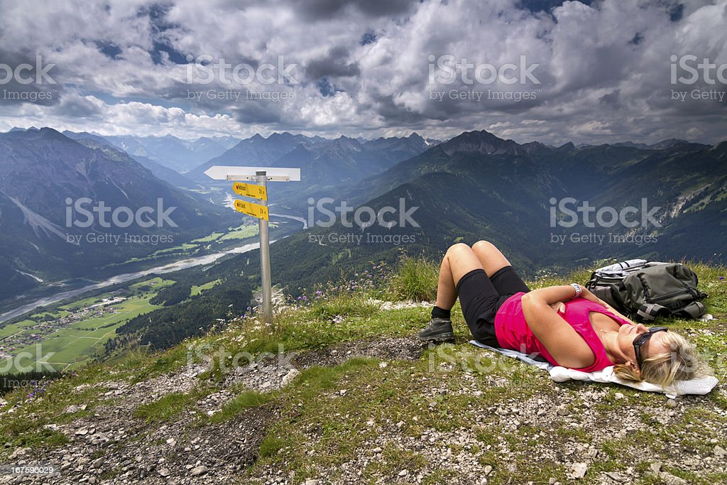 Take a rest on top of mountain royalty-free stock photo