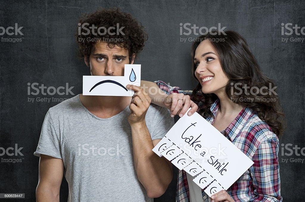 Take A Smile Concept stock photo