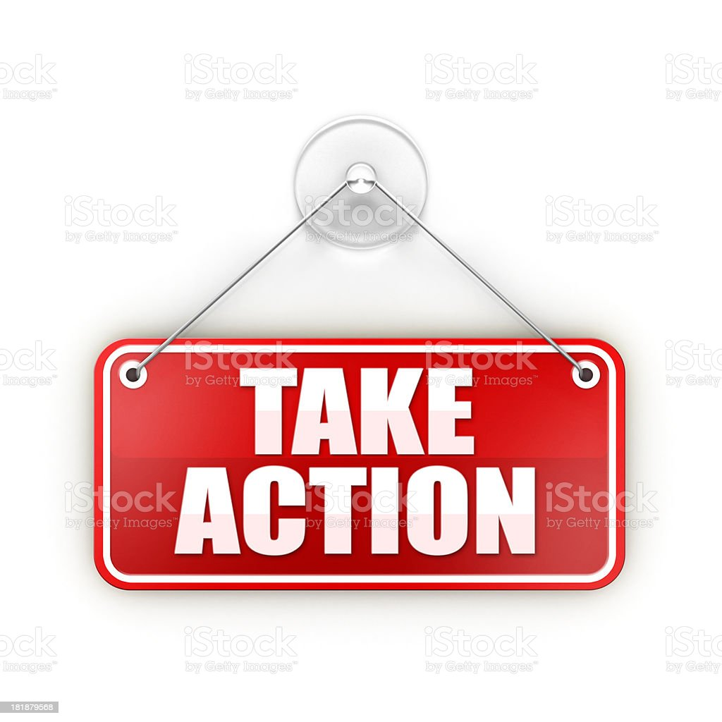 take action Sticky red sign stock photo