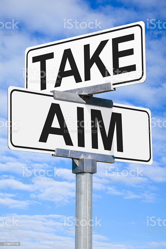 Take Aim Street Sign royalty-free stock photo