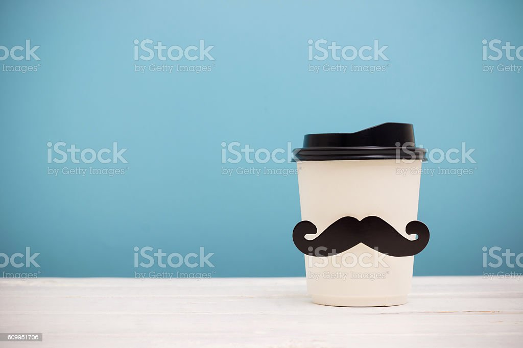 Take away coffee cup with hipster mustache stock photo