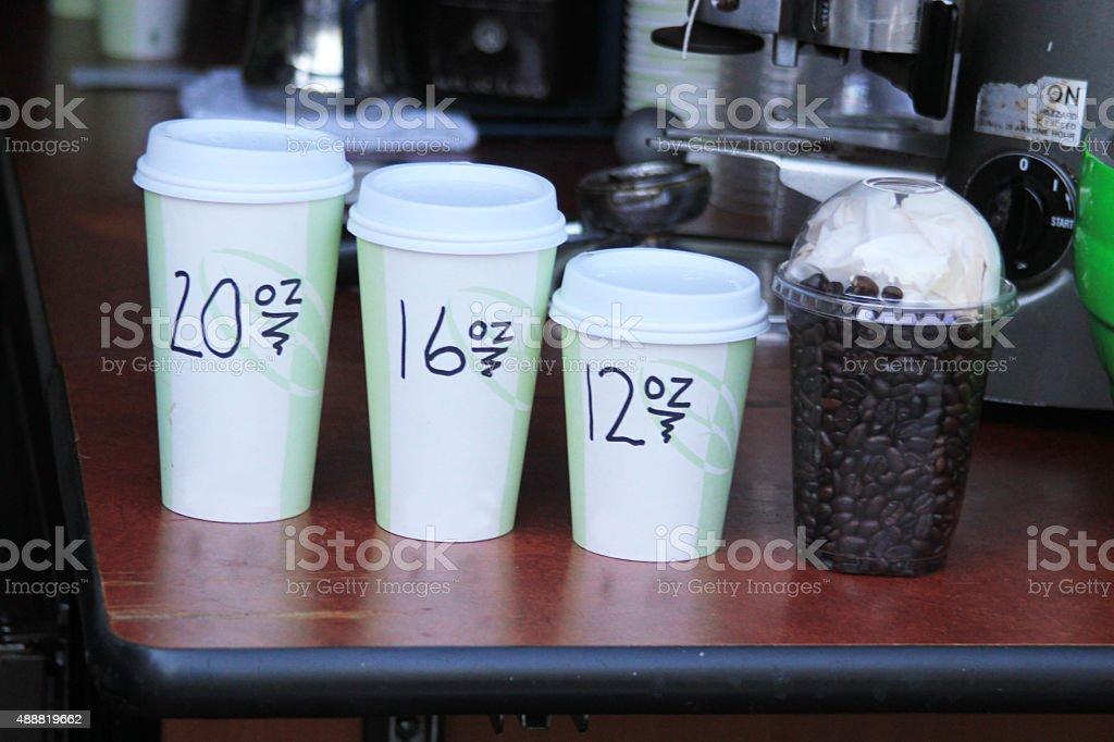Take away coffee in three sizes stock photo