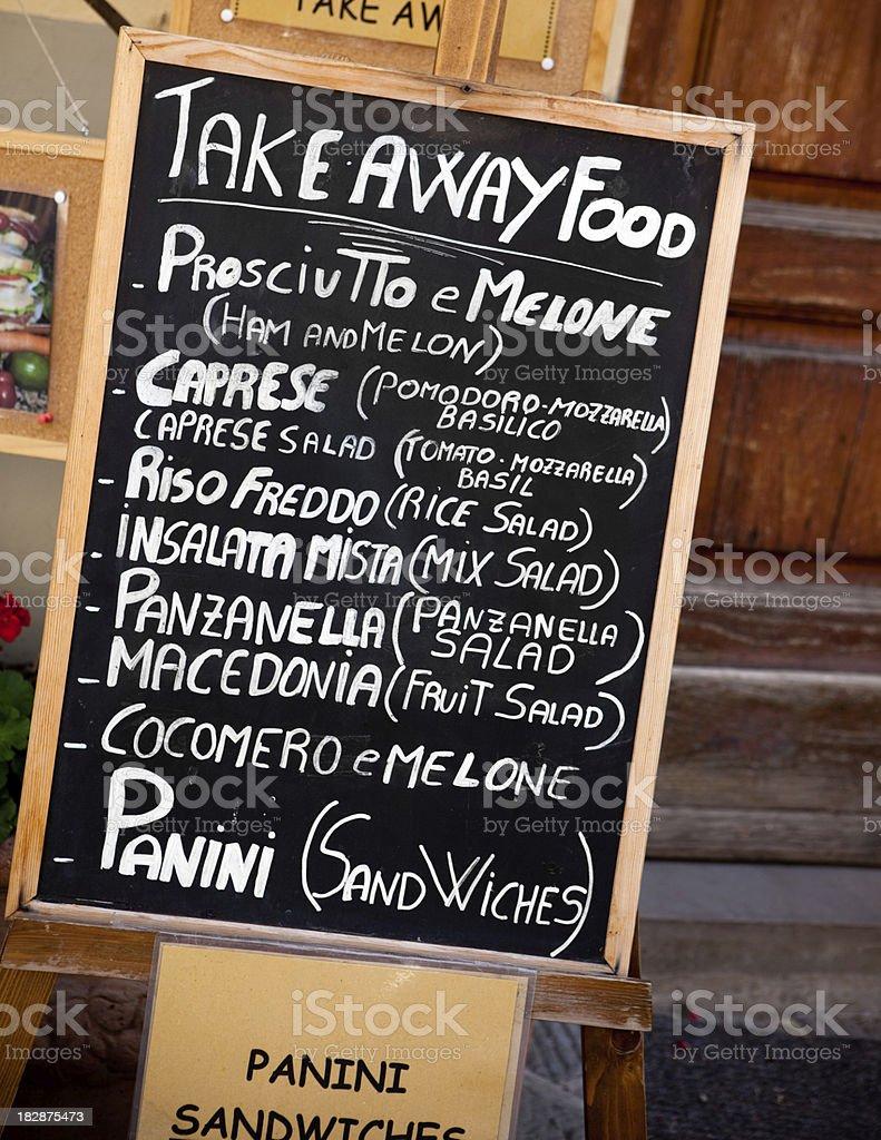 Take away italian food menu royalty-free stock photo