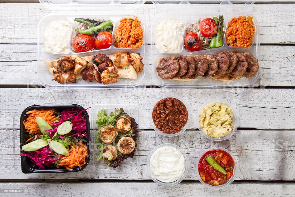 take away plate with gyros meat and salad stock photo