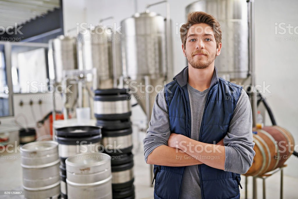 I take my brewing seriously stock photo