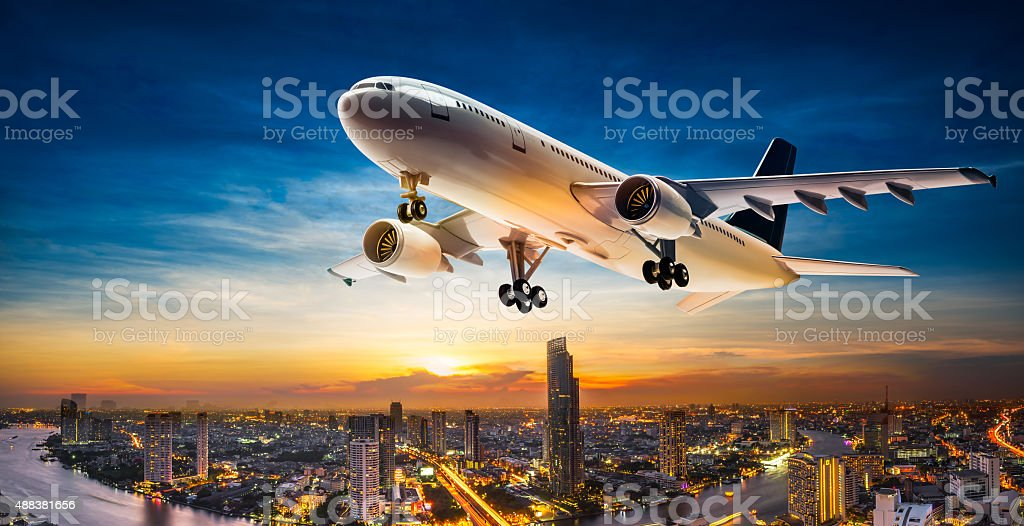 Take off aeroplane stock photo
