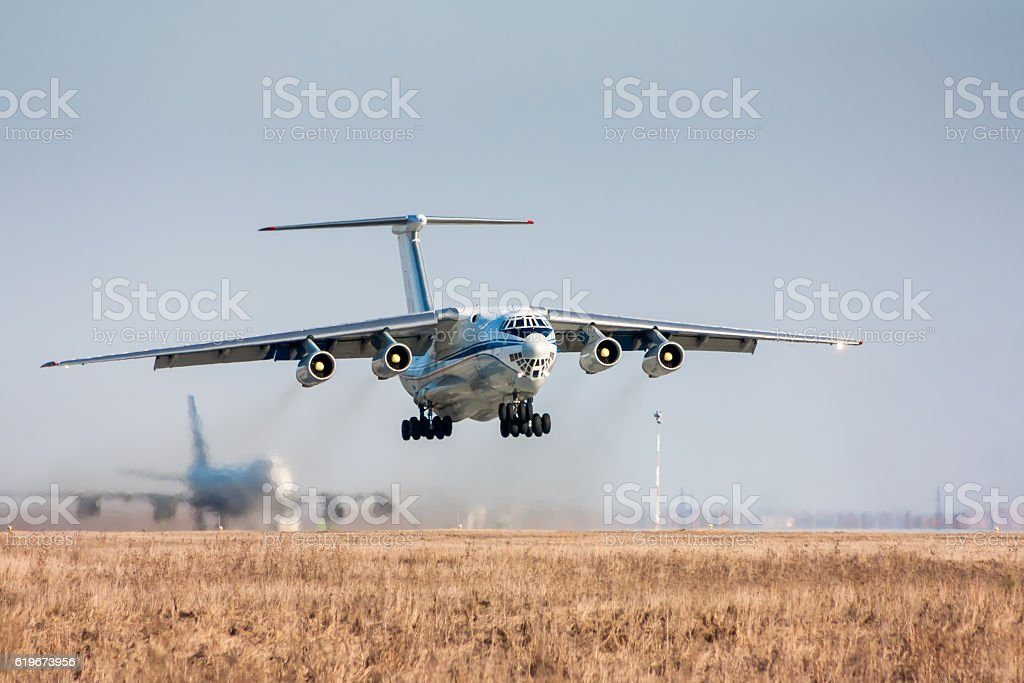 Take off of the wide body cargo aircraft royalty-free stock photo