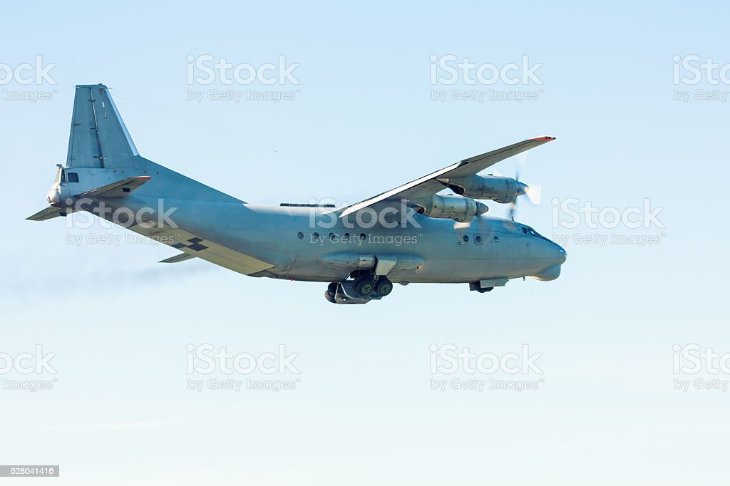 Take off the old transport turboprop aircraft royalty-free stock photo