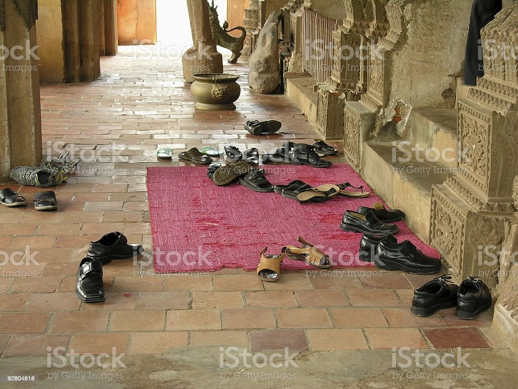 Take off your shoes before entering pagoda! royalty-free stock photo