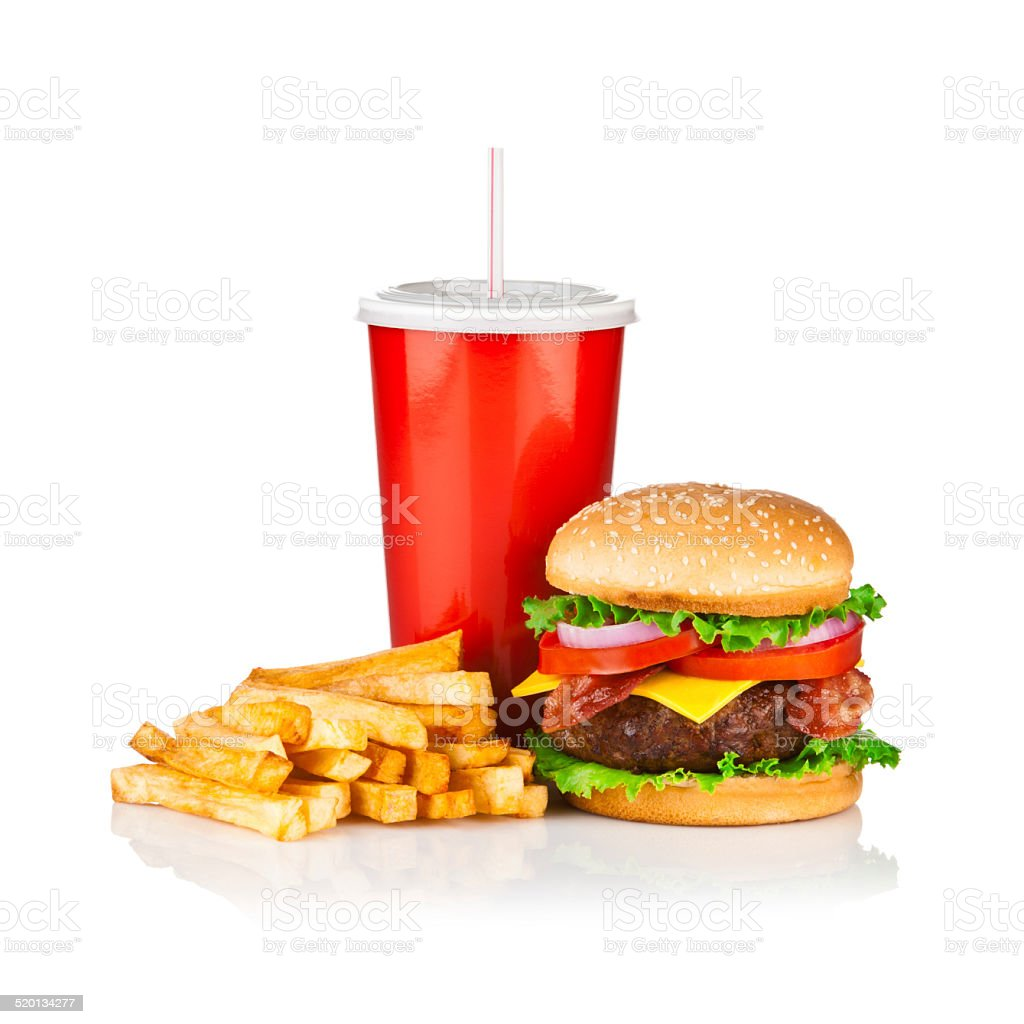 Take Out Food, Classic Cheeseburger Meal isolated on white stock photo