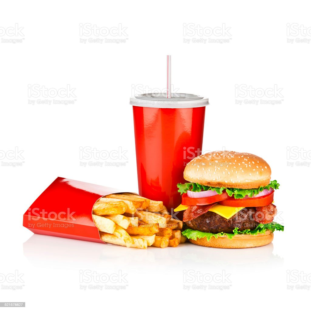 Take Out Food, Classic Cheeseburger Meal stock photo