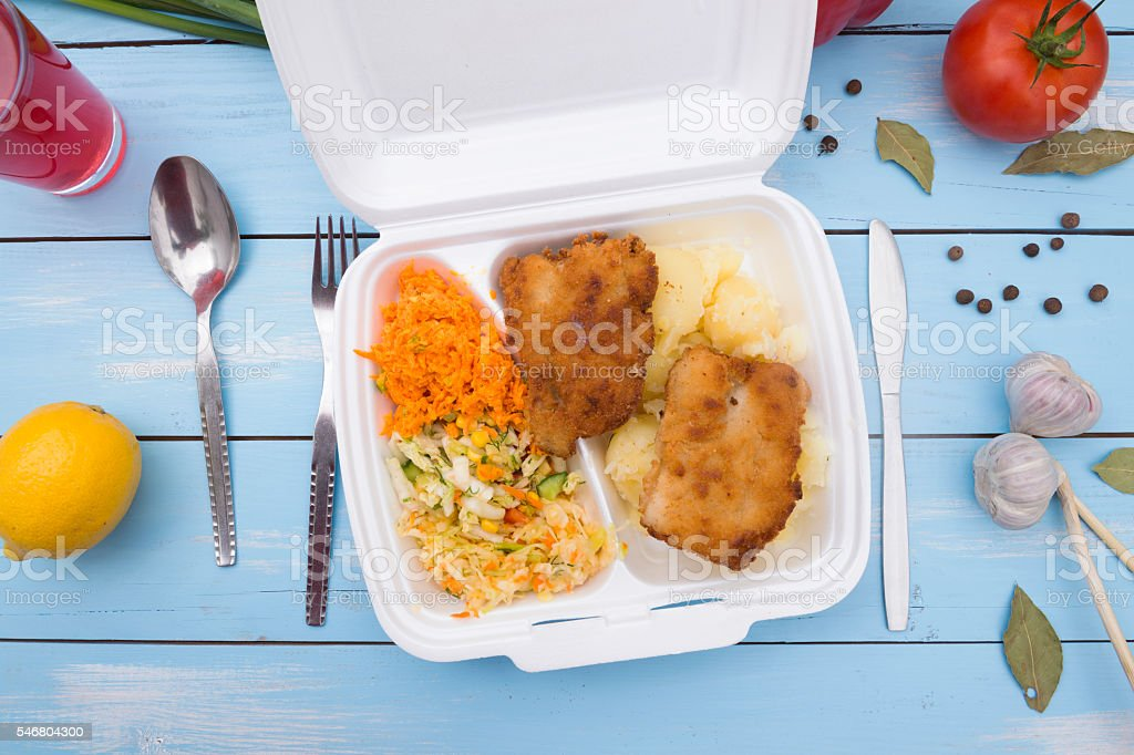 Take out food in tray stock photo