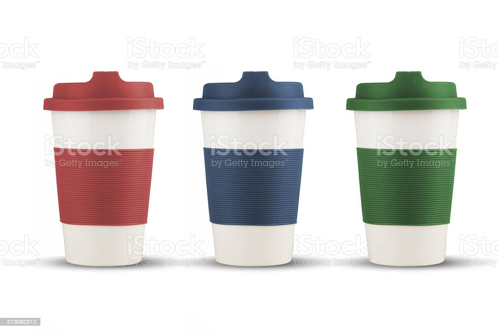 Take out thermo cups with silicone lid isolated stock photo