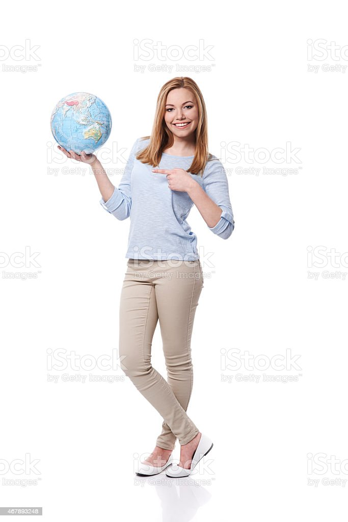 Take the Earth in your hands and care about it stock photo