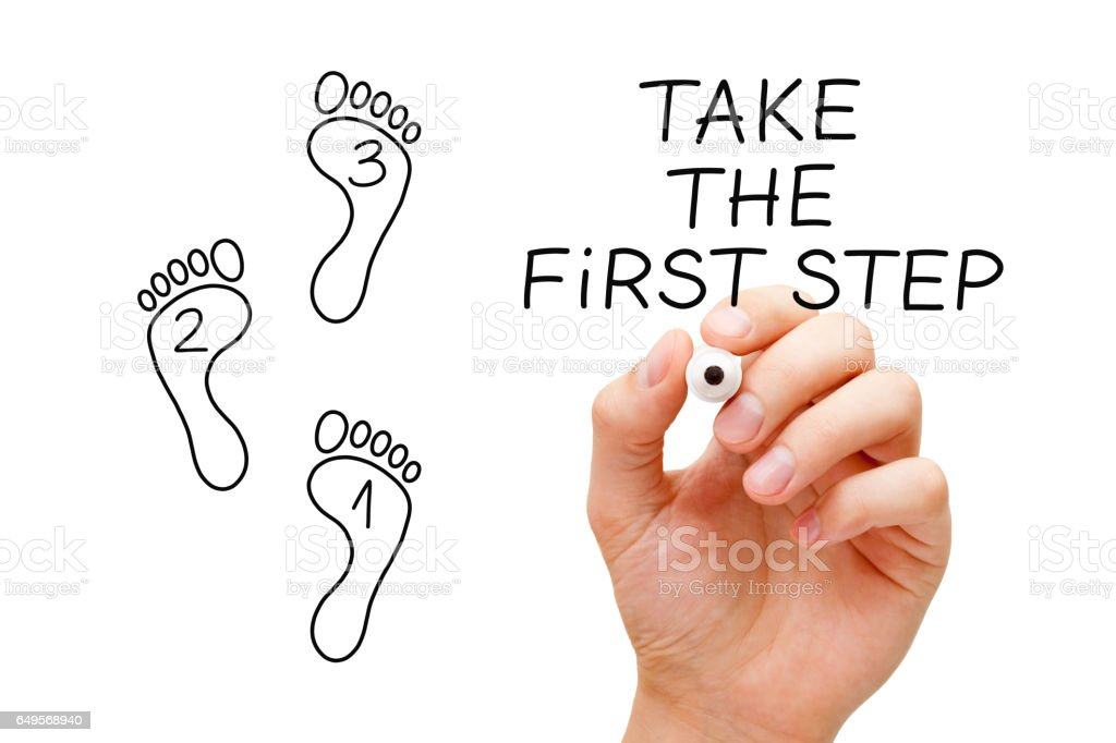 Take The First Step Footprint Concept stock photo