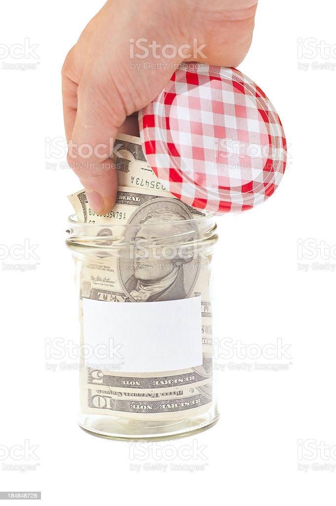 take the savings out of jar royalty-free stock photo